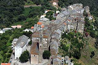 Village of Vescovato in Casinca (Castigniccia) of north-east Corsica